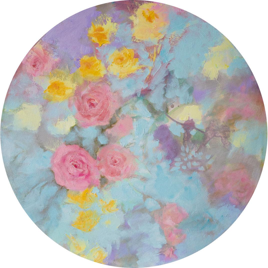 Romantic floral tondo by Fabienne Monestier