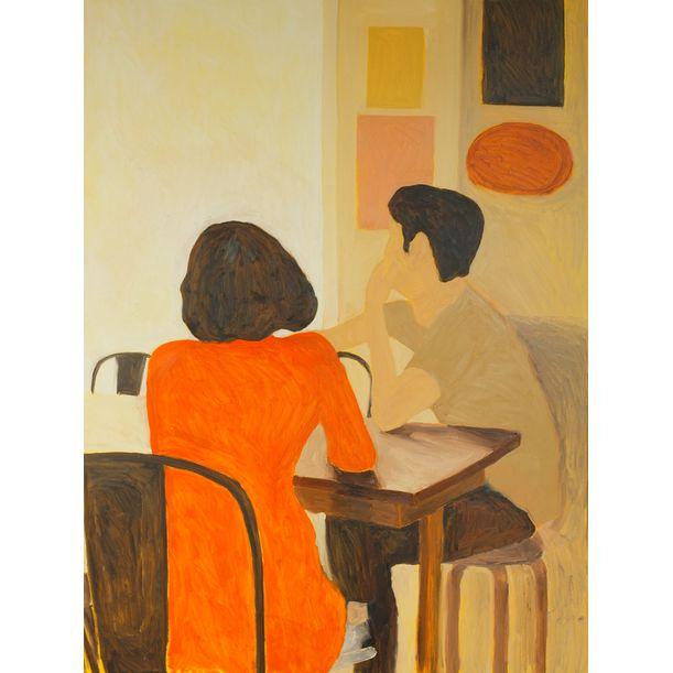 Orange Dress In Cafe by Jaruwat Normrubporn