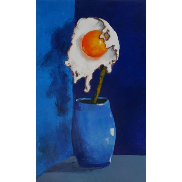 Egg flower in blue vase by Ta Thimkaeo