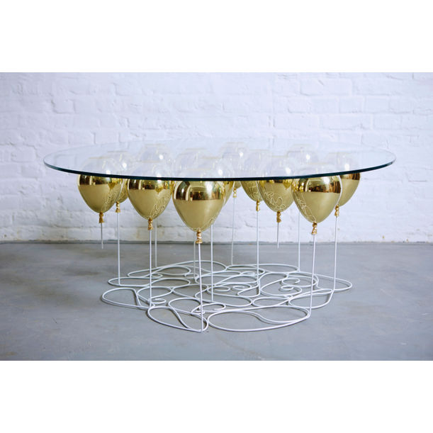 UP Balloon Coffee Table Round (Gold) by Duffy London
