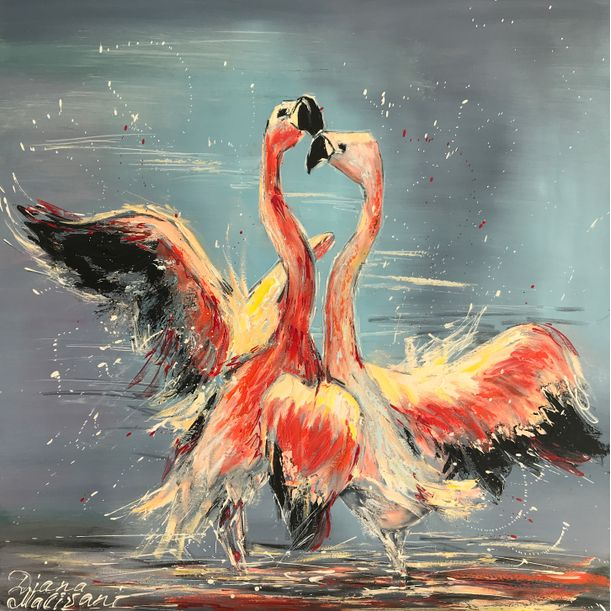 Dance of Pink Flamingoes by Diana Malivani