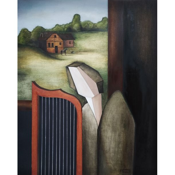 Angel playing the harp by the open window by Alexander Trifonov
