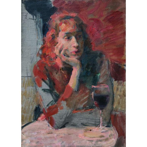 Female with a Glass of Wine by Samir Rakhmanov
