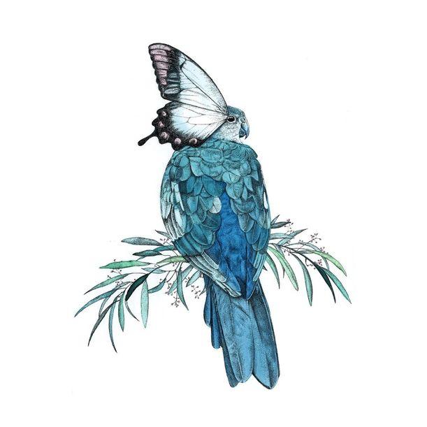 Bird/Butterfly Giclée Print (Turquoise) by Amelia Ilangaratne