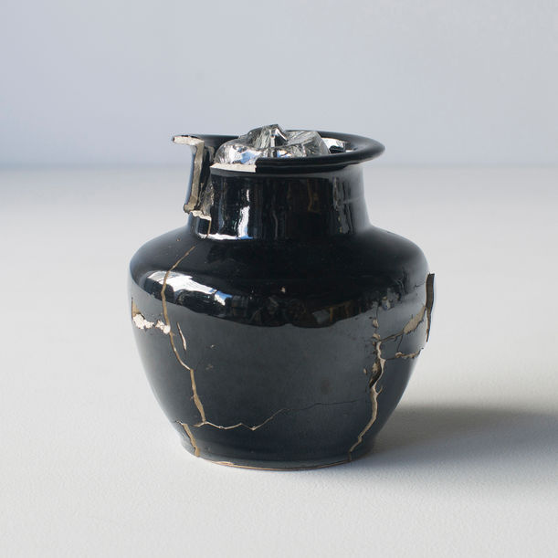 Glass wearing ceramic vase #2 by Norihiko Terayama