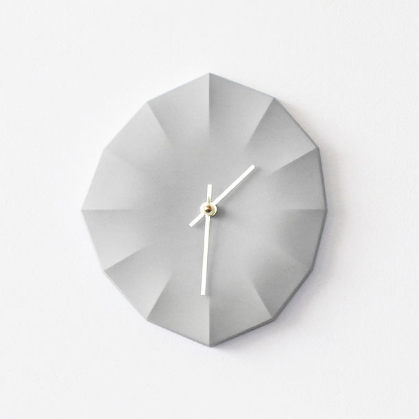 Click Clock L | Gray with Brass Hands by Ayako Aratani