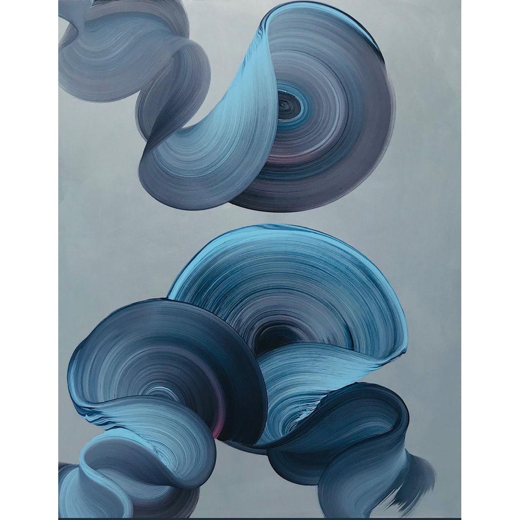 Three Blue Swirls by Dragica Carlin
