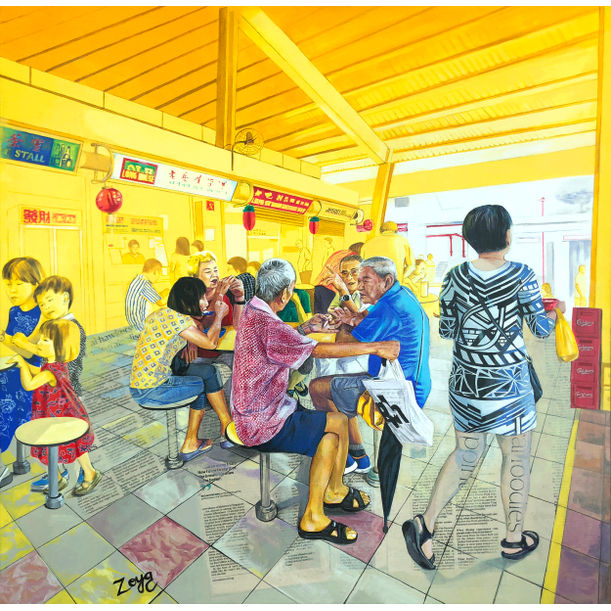 Morning Noodles & Gossip At The Toapayoh Hawker Centre Painting by Zoya Chaudhary