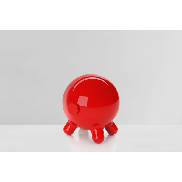 Pogo: Red Decorative Stool and Playful Sculpture by Joel Escalona