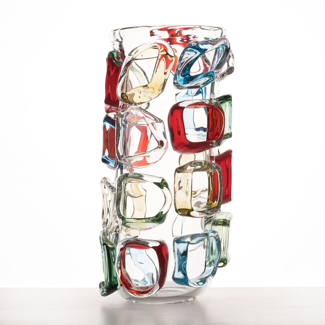 Tall Coloured Vase by Martin Potsch