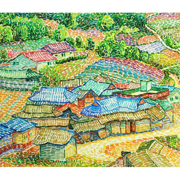 A mountain village by Seongse Yi