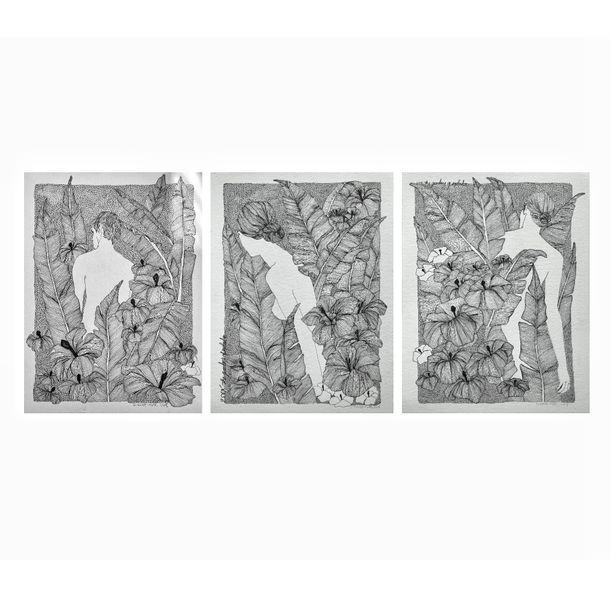 """Set of 3 / The gardens of seplendor""""Art Nouveau by Erna Ucar"""
