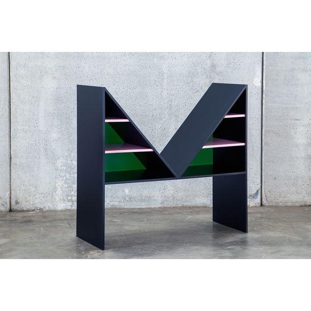 Contemporary Bookcase Black Bikini Wood by Chapel Petrassi