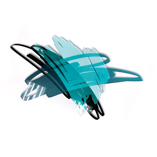 Three Scribbles Horizontal (Teal) by Ryan Coleman