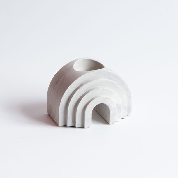 Scala Collection Arch Tealight + Candle Holder - White Marble by Extra&Ordinary Design