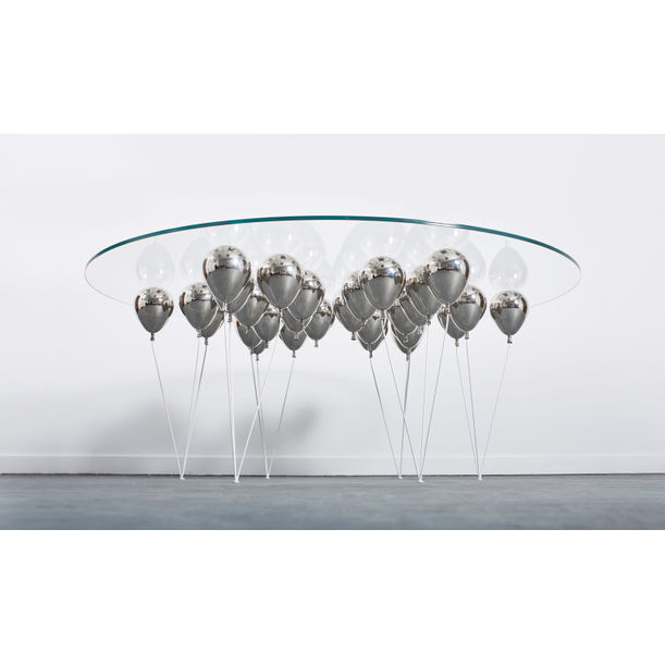 The Up Balloon Dining Table Round (Silver) by Duffy London
