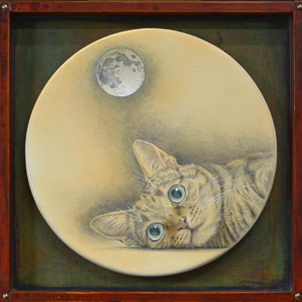 What a cat staring at the moon imagines? by Kazuaki Maitani