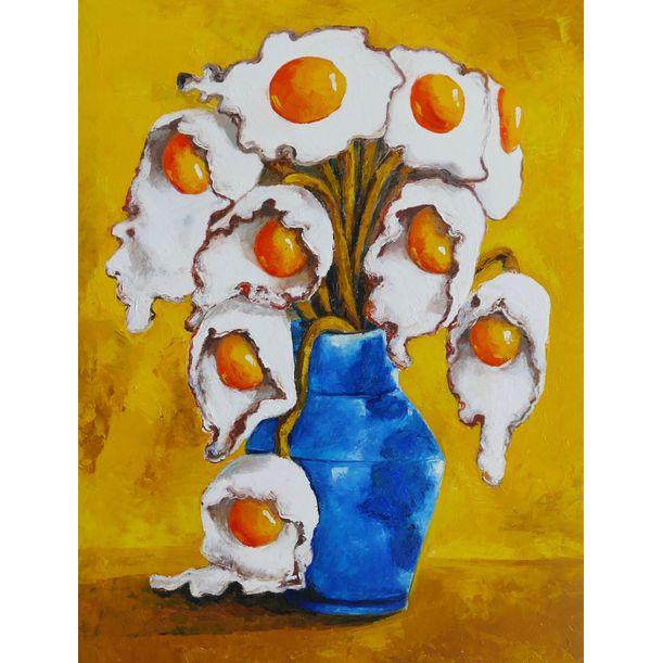 Egg flowers in blue vase by Ta Thimkaeo