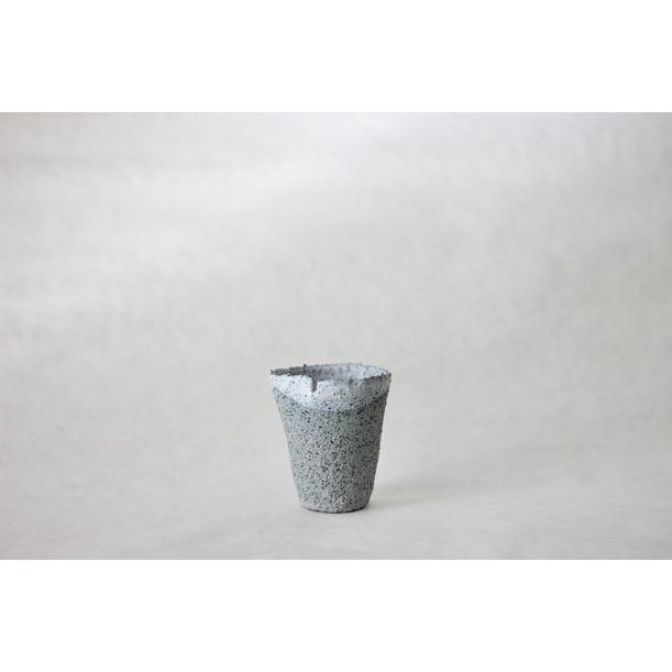 Terrazzo blue clay cup small by Evgeniia Kazarezova