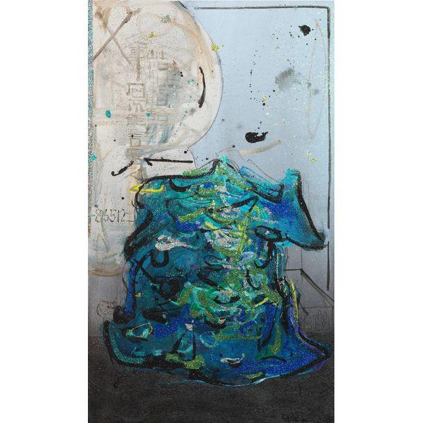 Scholar Stone Blue & Green - 1804FF by Ann Niu