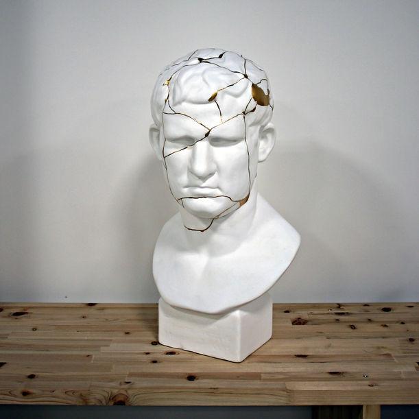 Plaster statue of Agrippa with Kintsugi by Kairo Kusamoto