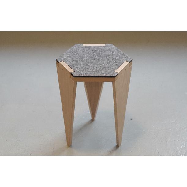 Hexa wood stool - gray by Project-J