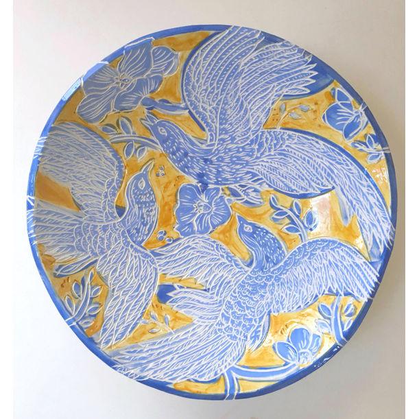 Yellow Blue Bird by Heidi Lanino