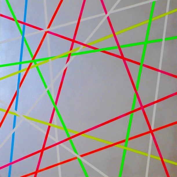 Network Metallic Silver Red Green by Colin McCallum