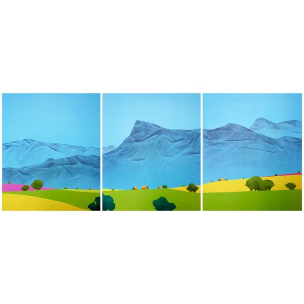 Mountain in the Shan State (Triptych) by Min Zaw