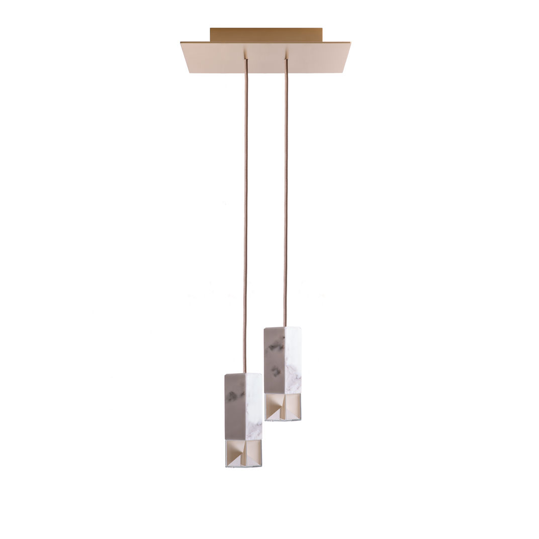 Lamp/One Marble Duet Chandelier by Formaminima