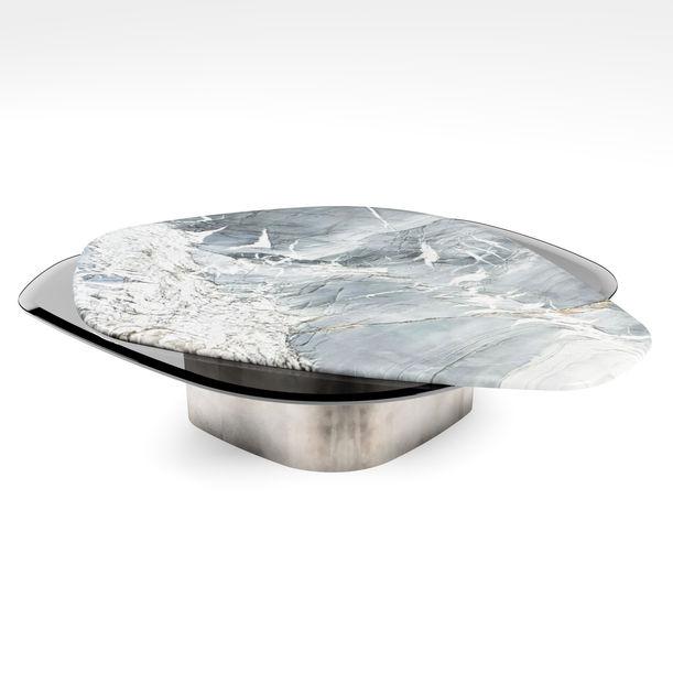 """""""The Elements"""" Modern Center Table Ft. Venom Quartz, Glass & Raw Steel by Grzegorz Majka"""
