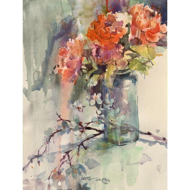 Blossoms through bottle by Faiqa Uppal
