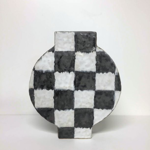 Round Checker Vase by Kelsie Rudolph