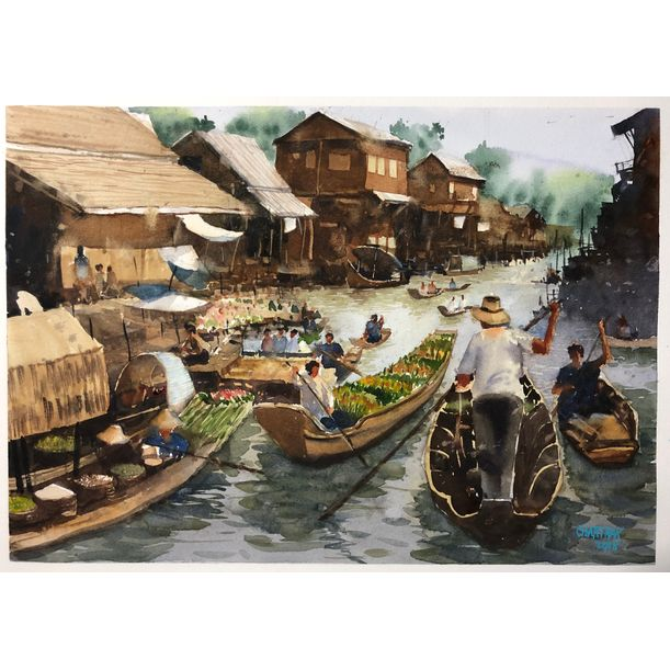 Klong Sarn floating market by Chartrak Roongsangthong