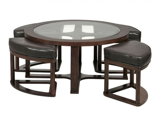 Picture of Marion Round Coffee Table with Four Stools