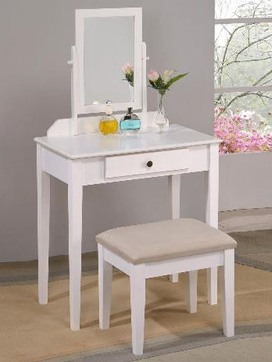 Iris White Vanity and Bench