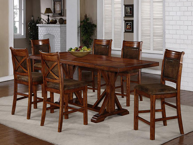 Picture of Austin Walnut Counter Table with Four Stool