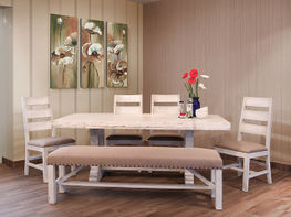Terra White 79 Inch Dining Set