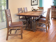 Antique Multicolor 72 inch Table with Four Chairs