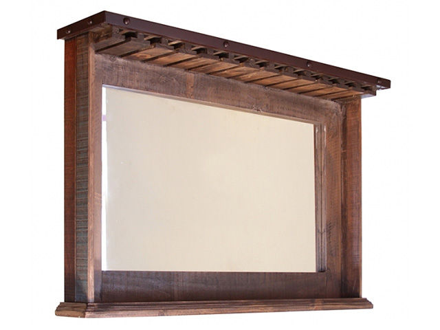 Picture of Pine Mirror Bar with Glass Holders
