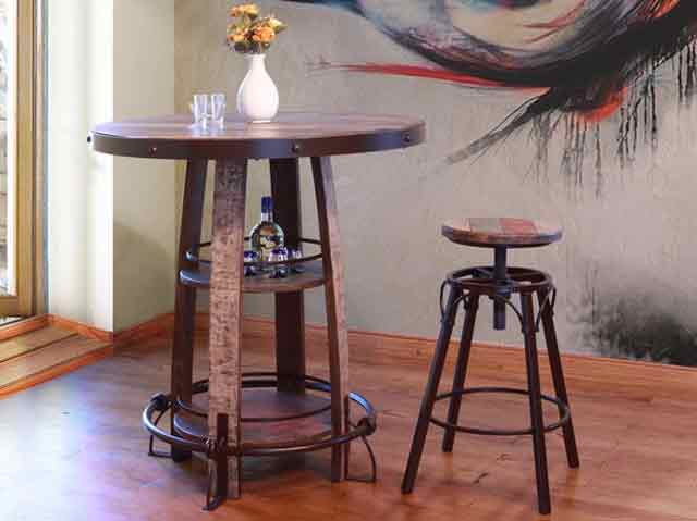 Picture of Antique Bistro Table with Four Stools
