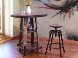 Antique Bistro Table with Four Stools