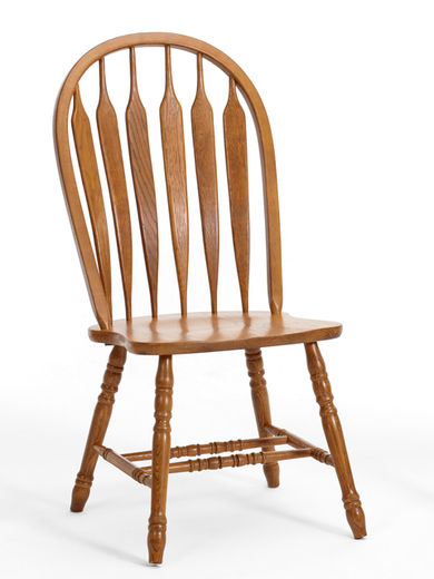 Classic Oak Chestnut Curved Arrowback Chairs
