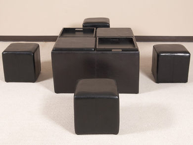 Brown Nine Piece Ottoman Set