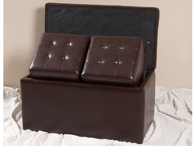 Picture of Brown Storage Bench with Ottoman