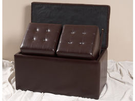 Brown Storage Bench with Ottoman