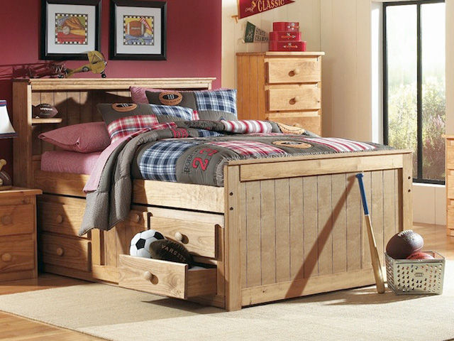 Picture of Twin Bookcase Captain Bed Set
