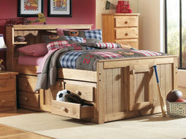Full Bookcase Captain Bed Set