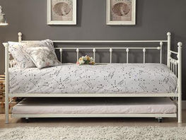White Metal Daybed with Trundle