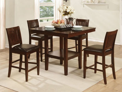 Brown Cherry Counter Table with Four Stools